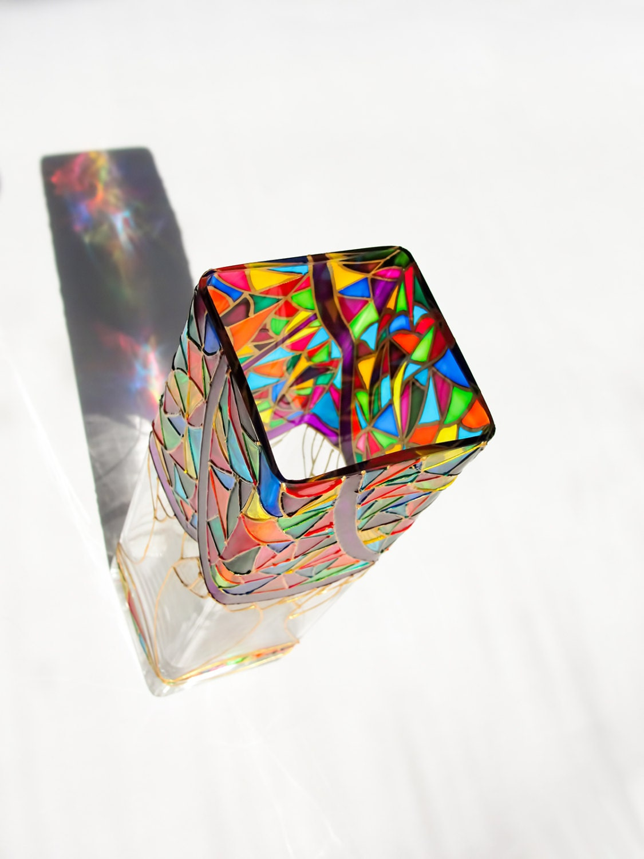 verre color vase cadeau pour elle mosa que de verre vase en. Black Bedroom Furniture Sets. Home Design Ideas