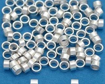Sterling Silver Crimp Beads, 2x1 silver crimp tubes, 925 Sterling Silver Crimps, sterling Silver Crimps, Silver Crimps, 100 PCS