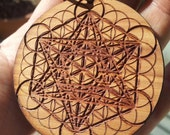 Metatron's Cube & Flower of Life Laser Engraved Reclaimed Wood Pendant - Sacred Geometry