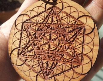 Metatron's Cube & Flower of Life Laser Engraved Reclaimed Wood Pendant - Sacred Geometry