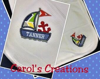 Receiving Blanket/Monogrammed Sailboat/Nautical Blanket/Sailboat Blanket/Baby Boy Blanket/Personalized Blanket/Sailboat/Blue/Boys Shower Gif