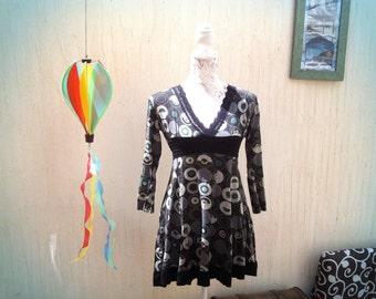 Vintage short dress-retro dress-vintage mini dress-mad men dress-black short dress-vintage blouse