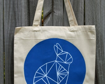 Geometric Rabbit Tote Bag - Pick Your Color - Bunny Tote Bag