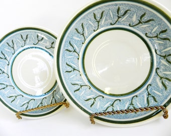 2 BLUE GREEN PLATES. Vintage Flower Floral Edge Blue Green Turquoise Saucers Dishes Dessert Salad. Modern Midcentury Tulips Ivory Stoneware
