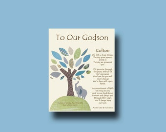 Godson gift - Gift for our Godson - Gift for our Godson from Godparents - Personalized gift for Godson from us, Baptism Keepsake  TREE