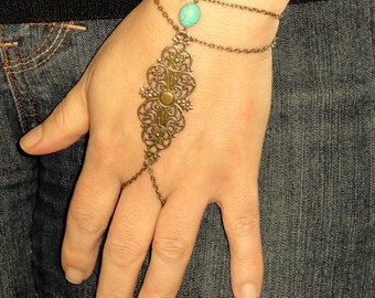 Slave bracelet, Antique bronze slave bracelet ring, Turquoise hand bracelet, Bohemian hand jewelry, Bronze bracelet ring, Turquoise jewelry