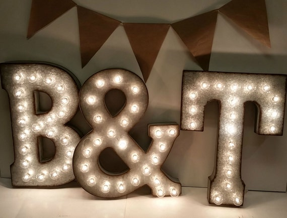 Tin Letters With Lights Galvanized Metal Marquee Light Letter 21