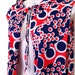 Free Ship / 70s Vintage Jantzen Swim Cover Up Op Art Maxi Cape Hooded Red Navy White