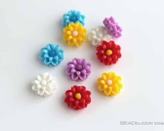 Resin Flower 13mm Flat Back Cabochons Pack of 10 Mixed Colours (CAB015)