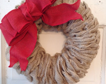 Christmas Burlap Wreath with Bow-Red Burlap-Christmas Decor-Red Wreath-Burlap-Door Wreath-Housewarming-Burlap Decor-Wreath-Burlap Wreath