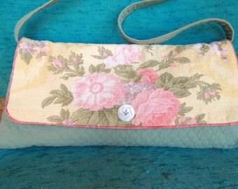 Vintage Roses Shoulder Bag with Hand Carved Vintage Button