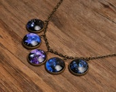 Galaxy necklace, silver or brass necklace, planet necklace, universe necklace, galaxy pendants, glass necklace, glass dome necklace