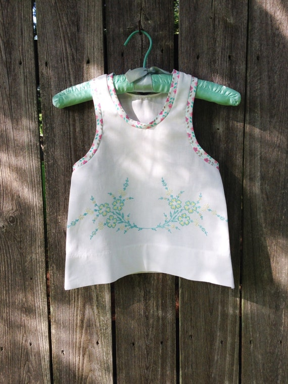 Vintage Pillowcase Racer Back Tank for toddler girls - Aqua and Yellow- Size 2T Ready-to-Ship