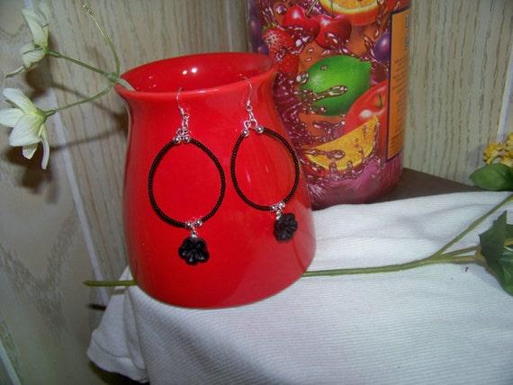 Earrings - Black Seed Bead with Flower, Oval Hoop Style