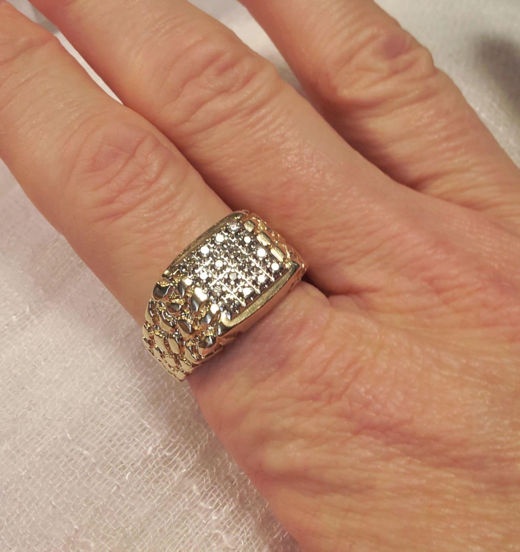 10k gold nugget ring mens nugget ring 10k