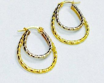 14K Gold Hoop Earrings - 14K Two Tone Gold Earrings - 14K Gold Earrings - Gold Hoop Earrings - Modern Gold Earrings - 14K Gold Hoops