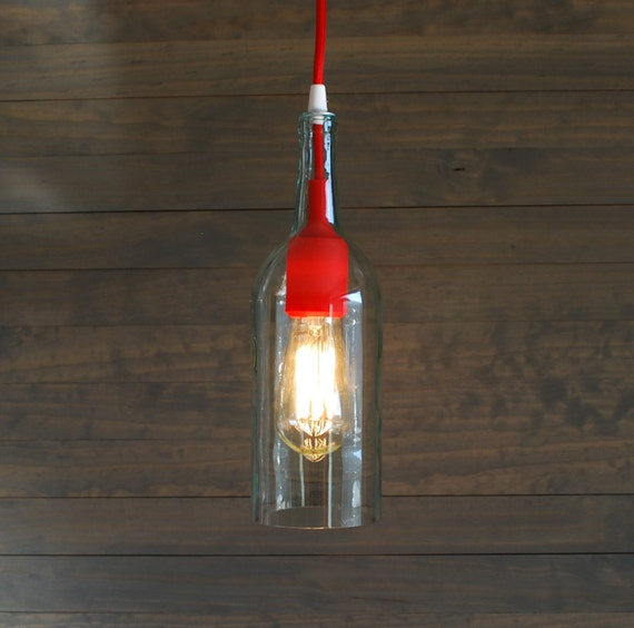 Upcycled Clear Wine Bottle Pendant Light with Red Silicone Socket ...