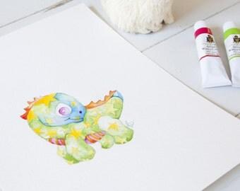 Children's Art - Dinosaur Print - Cute Dinosaur Nursery Art - Baby Dinosaur Watercolor Print - Kids Dinosaur Painting
