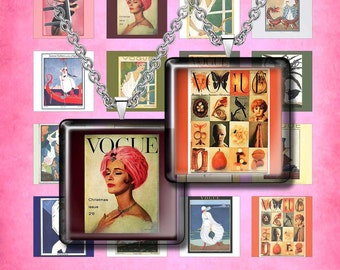 """VINTAGE MAGAZINE-  Digital Collage Sheet – 1"""" & 1.5"""" squares – Printable Download for Pendants, Earrings, Charms"""