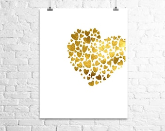 Gold Heart Art Print, Gold Foil Print, Gold and White Wall Decor, Valentine's day Gift, Bedroom Wall Art, Love Poster