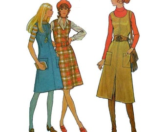 "70's Jumper Sewing Pattern Misses' Size 10 Bust 32 1/2"" Vintage 1970's Easy to Sew Uncut McCall's 2901"