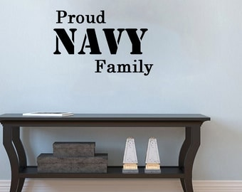 Proud Navy Family- patriotic Wall Decal-26X11