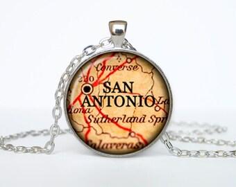 San Antonio map pendant, San Antonio map necklace,San Antonio map jewelry, San Antonio Texas