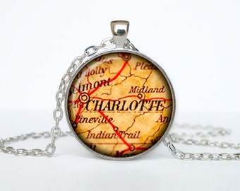 Charlotte map pendant, Charlotte  map necklace, Charlotte  map jewelry, Charlotte North Carolina