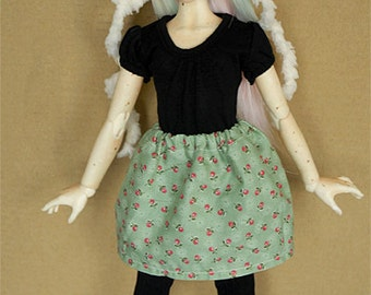 BJD MSD Skirt [Green with Red Cherries]