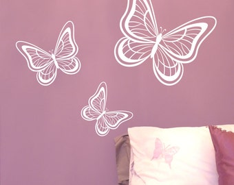 Butterfly Wall stickers Set of 3 - Decals - Wall Tattoo - Wall Art - Wall Quote - Home Decor - Wall Decor - Wall Decals - Butterflies