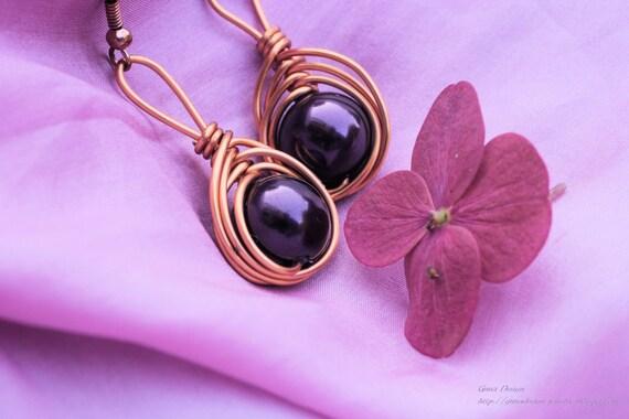 Celtic Dangle Earrings with Purple Beads