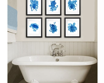 Beach Bathroom Decor Blue Octopus Poster Art Prints Set Of 6 Beach Decor  Wall Art Coastal