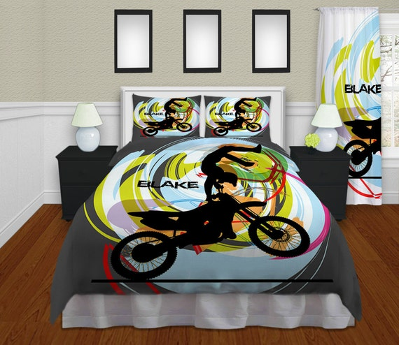 Personalized motocross comforter motocross by for Bmx bedroom ideas