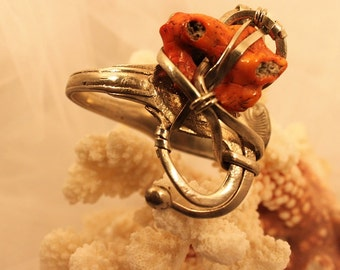 NATURAL CORAL CUFF set in a fantastic Vintage fork Heavy Sterling Plate,one of a kind!