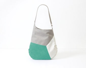 Color block turquoise bag summer canvas small weekender bag high tech textile