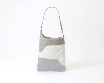 shopper vegan bag picnic tote gray messenger bag color block bag