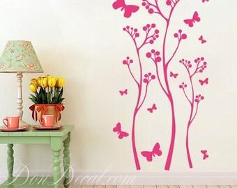 Bedroom Wall Art Sticker Vinyl Decal - Living Room Wall Art Decal - Meadow Flowers & Butterflies Vinyl Decor