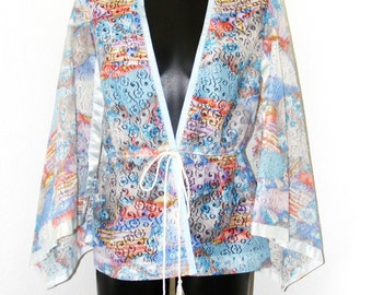 Vintage 1970s Kimono sleeve Lace top- size 12