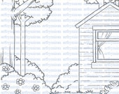 Digital Stamp-Background - Cabin In The Woods, Digi Stamp, Coloring page, Printable Line art for Card and Craft Supply, Art by Mi Ran Jung