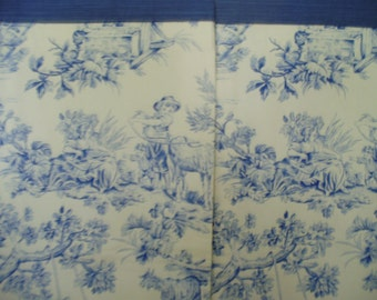 Blue and Cream Toile Drapery Side Panels Pair