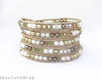 Green white freshwater pearl wrap bracelet with crystal and metal beads on soft polyester cord, silver, beige, gold