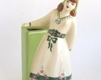 Weil California  Figural Vase - Young Woman with a Chartreuse Vase