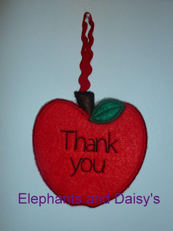 Teacher thank you apple embroidery design file