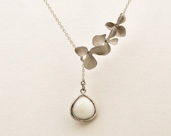 White Opal Orchid Lariat Necklace, Wedding Jewelry, Bridesmaid Jewelry, Everyday Necklace, Mother's Day
