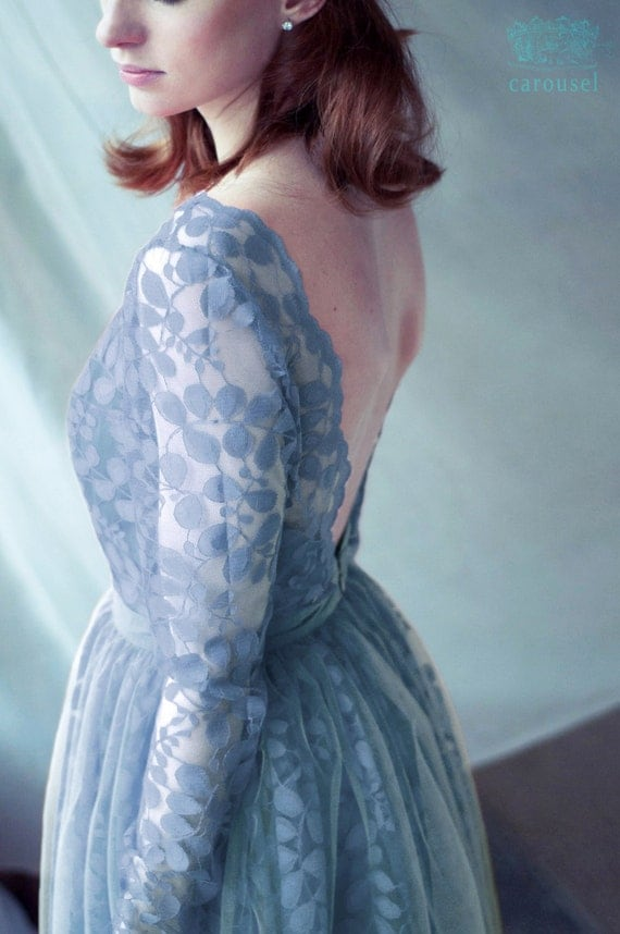 Lace evening dress, pale blue, open back dress