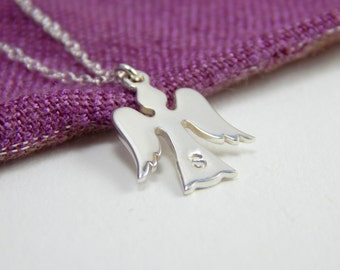 Initial silver angel necklace, guardian angel necklace, protection necklace, small angel charm, baptism gift, confirmation gift 343