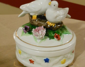 Royal Crown Trinket Box with Doves