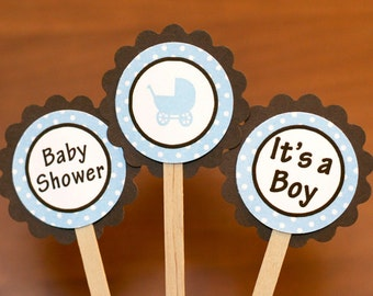 Baby boy shower decorations blue Carriage Baby Shower party decorations cupcake toppers in Brown and Blue (12)