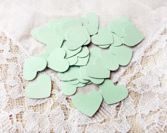 50 MINT GREEN Mini Heart Die Cut, Punches, scrapbook, embellishments, cards, cardstock, conffeti 5/8 inch