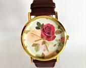 Floral Watch, Rose Watch, Vintage Style Watch, Victorian, Leather Watch, Women's watch, Boyfriend watch, Flowers, Roses, Mom, Sister,